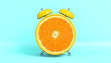 Réveille Matin Vintage En Forme De Orange. Concept Illustrant Qu'il Est L'heure De Prendre Ses Vitamines. Rendu 3D.