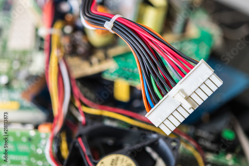 Fotografía  Connector with power cables for computer mainboard