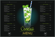 Mojito Glass. Cocktail Menu Concept Design For Alcohol Bar.