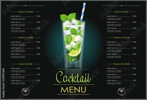 Mojito glass. Cocktail menu concept design for alcohol bar.