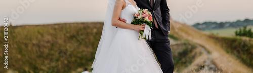 Stampa su Tela bride and groom walking