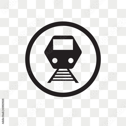 Tram stop label vector icon isolated on transparent