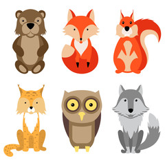 cartoon flat animal set