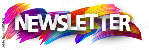Fototapeta Newsletter banner with colorful brush strokes. obraz