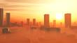 Leinwanddruck Bild - Hitze und Smog in der Stadt - Klimawandel
