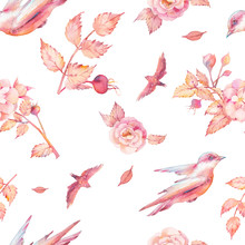 Watercolor Bird And Blossom Ro...