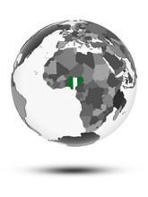 Nigeria On Political Globe Iso...