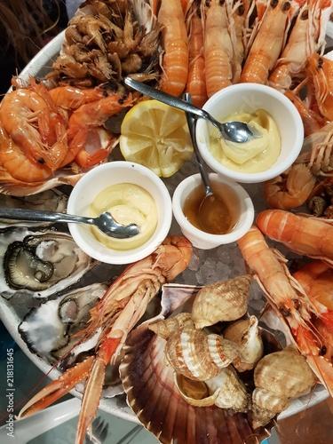 Carta da parati plateau de fruits de mer, Huîtes