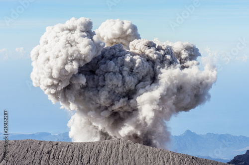 Fototapeta  Summit View of Mount Semeru Erupting