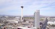 a view of the stratosphere from a drone and the surrounding buildings in las vegas