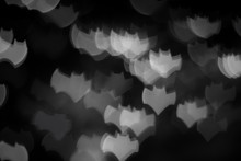 Holidays, Decoration And Party Concept - Defocused White Bats Silhouette Ghosts On Black For Halloween Background