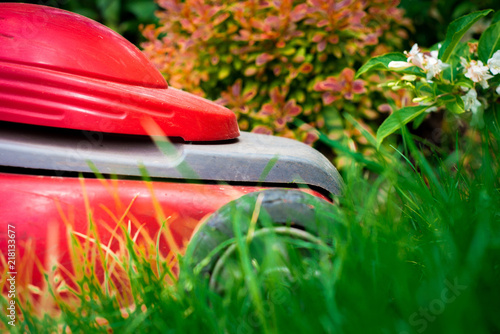 Photo Stands Camping Mowing the grass. The gardener mows the grass with a red electric mower. Work in the garden, spring cleaning. Care for the garden and grass.