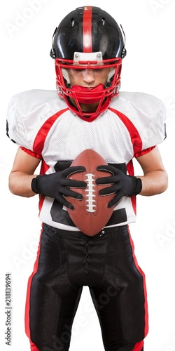 American football player with the ball isolated on a white Canvas Print