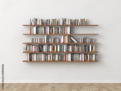 interior bookshelf room library. 3d rendering Canvas Print