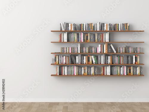 Fotografia interior bookshelf room library. 3d rendering