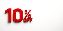 Ten Percent Off. 3D Render Illustration