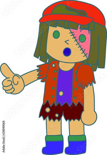 Photo Stands Indians Halloween zombie girl