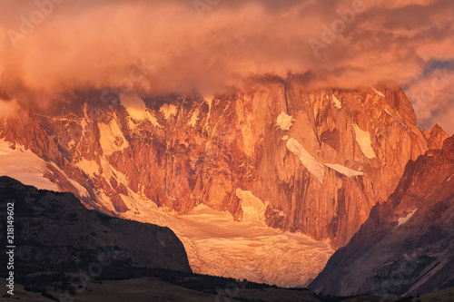 Spoed Foto op Canvas Koraal Glacer & peaks at sunrise; Patagonia; Argentina; South America