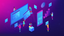 Isometric IT Team Working With Charts On Content Marketing Illustration. Business, Digital Content, Content Strategy And Management Concept. Ultra Violet Background. Vector 3d Isometric Illustration.