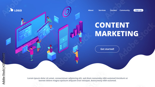 Fototapeta Isometric IT specialists working with charts on content marketing landing page. Business analysis, content strategy and management concept. Blue violet background. Vector 3d isometric illustration. obraz