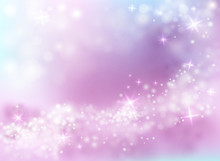Sparkling Light Shine Vector Illustraiton Of Sky Purple And Blue Background With Twinkling Stars And Bokeh Blur Wave Effect