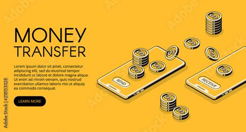 Carta da parati Money transfer vector illustration of online banking in mobile phone application