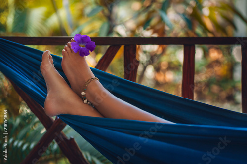 woman feet close up lying in hammock Canvas Print
