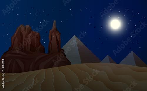Cadres-photo bureau Bleu vert A desert landscape at night