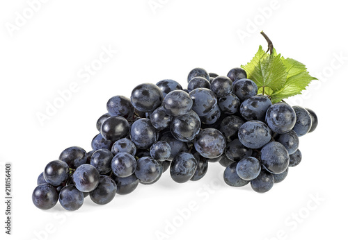 Fotografia, Obraz  Blue grapes with leaves isolated on white background