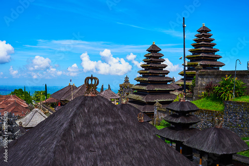 Colorful Balinese landscape with a temple. Temples in Pura Penataran Agung Besakih complex, the mother temple of Bali, Indonesia. Several balinese temples. Travel and ancient architecture background.