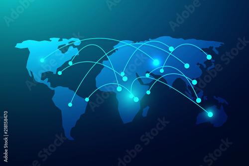 Global network connection with business concept and world map line, vector illustrator #218158470