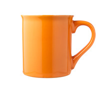 Orange Coffee Cup Isolated On White Background.