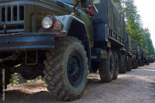 a column of Russian military vehicles Fototapet