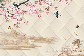 FototapetaOriental motifs - spring, mountains, sakura, birds