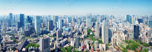 Photo Stands Tokyo panoramic view to the Tokyo, Japan from air. Cityscape with many modern business buildings