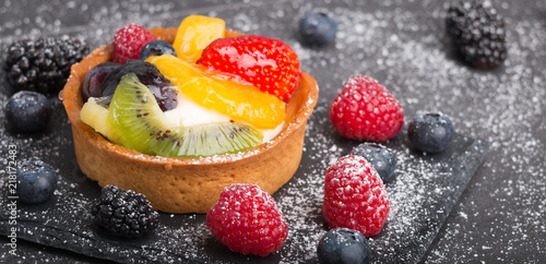 freshly made fruit tart Canvas Print