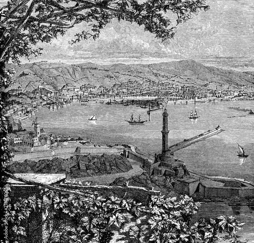 Italy,Liguria, panoramic vintage engraving of Genoa harbor on the Tyrrhenian sea,  with the old lighthouse Lanterna