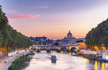 Scenic View Of Rome, Italy, At Sunset. Colorful Travel Background.