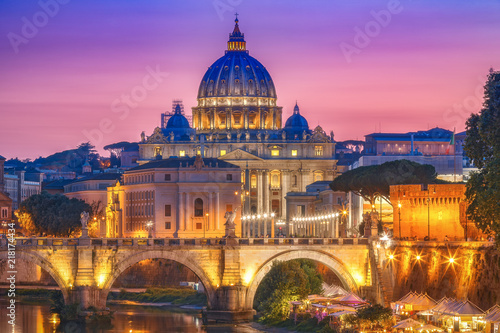 St. Peter's Basilica in Rome, Italy, at sunset. Scenic travel background. Scenic travel background.