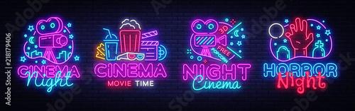 Obraz Cinema night set neon sing, label and logo. Cinema banner Design template, logo, emblem and label. Bright signboard, nightly bright advertising. Movie logo. Vector illustration - fototapety do salonu