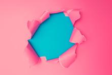 Vivid Pink Torn Paper. Burst H...