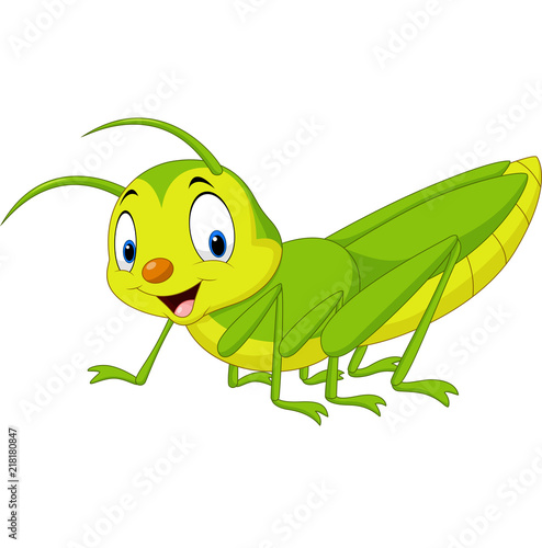 Photo Cartoon happy grasshopper