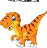 Fototapeta Dinusie - Cartoon tyrannosaurus isolated on white background