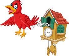 Cuckoo Clock With Red Bird Chi...