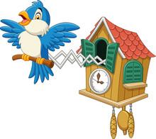Cuckoo Clock With Blue Bird Chirping