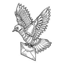 Mechanical Mail Pigeon Bird Animal Engraving