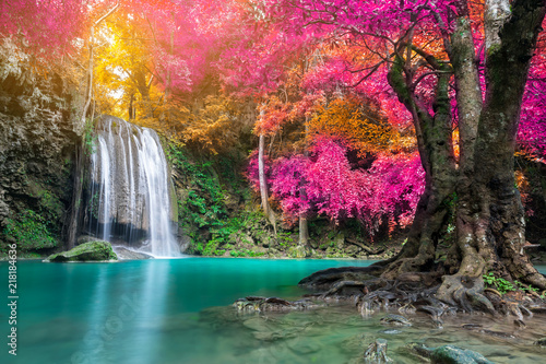Gris traffic Amazing beauty of nature, waterfall at colorful autumn forest