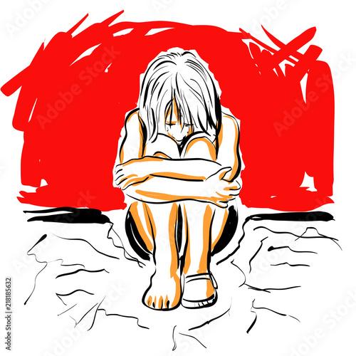 Photo croquis enfant seul replié triste victime violence traumatisme guerre