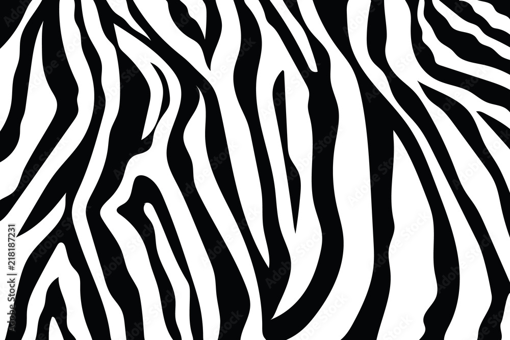 Fototapety, obrazy: Zebra Stripes Pattern. Zebra print, animal skin, tiger stripes, abstract pattern, line background, fabric. Amazing hand drawn vector illustration. Poster, banner. Black and white artwork, monochrom