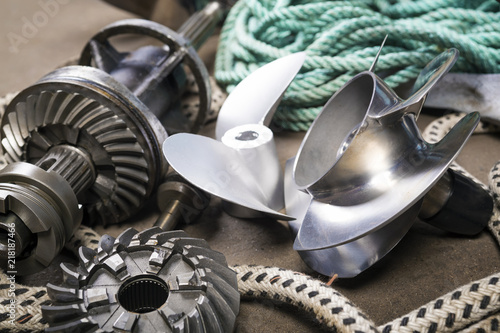 Boat propellerl, gears and  ropes